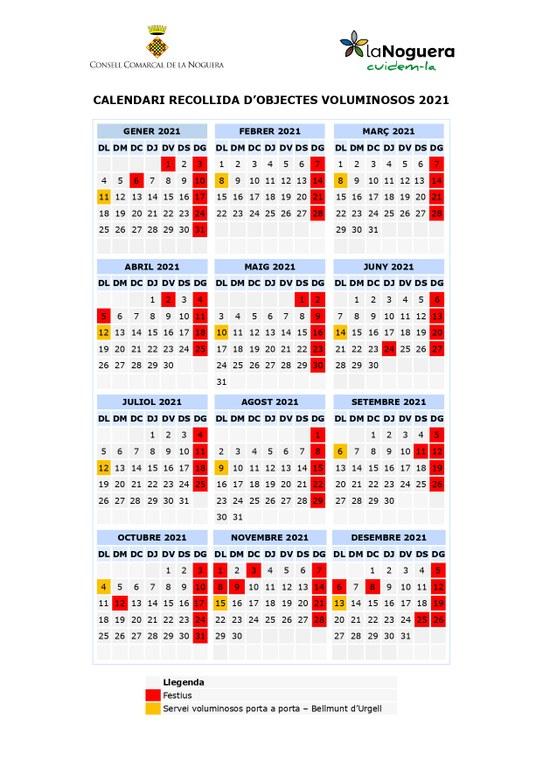 Calendari recollida d'objectes voluminosos 2021